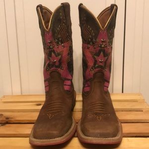 Ariat Rodeobaby Leather Cowgirl Boots Size 6.5B
